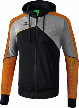 PREMIUM ONE 2.0 Trainingsjacke mit Kapuze - schwarz/grau melange/neon orange